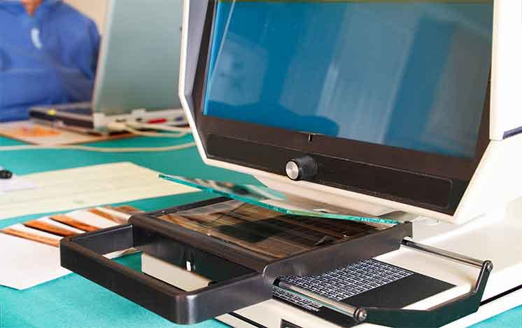 Microfiche and microfilm reader at Didlake Imaging in Manassas, Virginia.