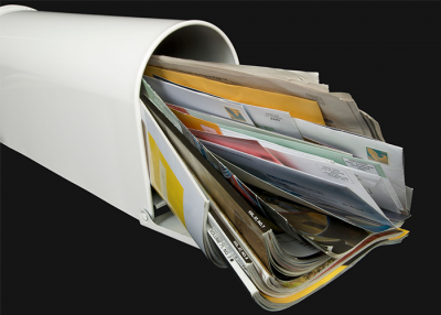 Paper mail scanned into a digital mailroom.